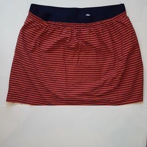 Womens J. Crew Pocketed Orange/Navy Striped Skirt
